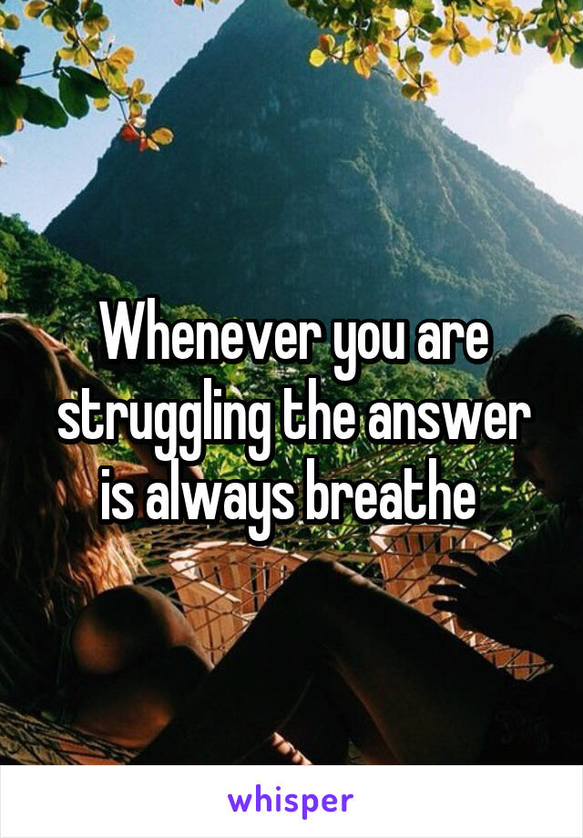 Whenever you are struggling the answer is always breathe