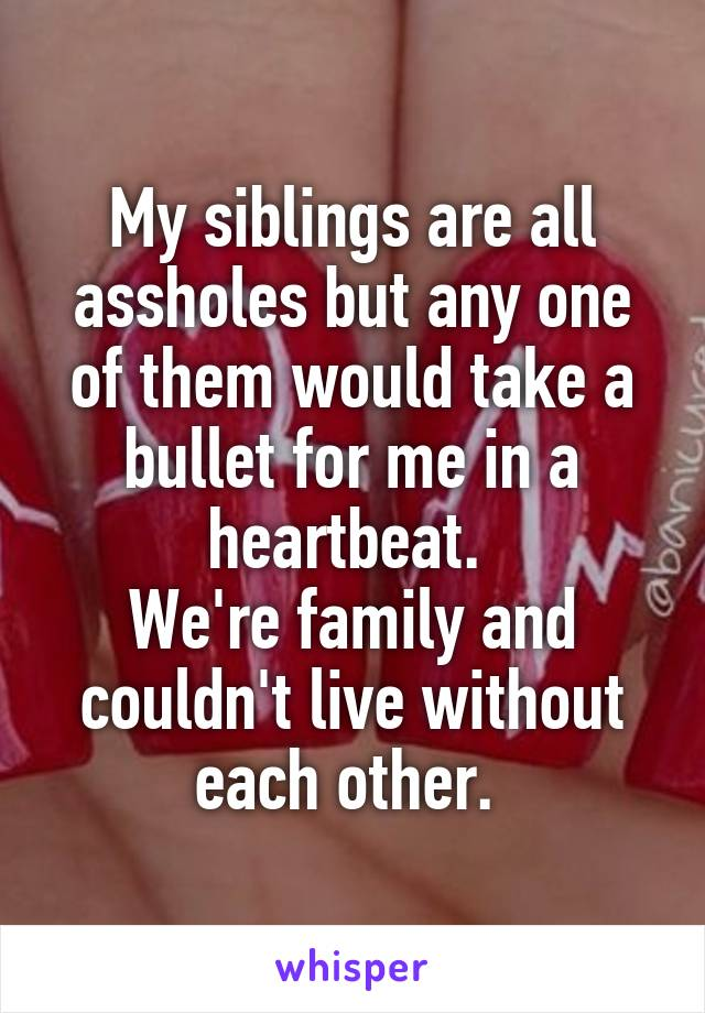 My siblings are all assholes but any one of them would take a bullet for me in a heartbeat.  We're family and couldn't live without each other.