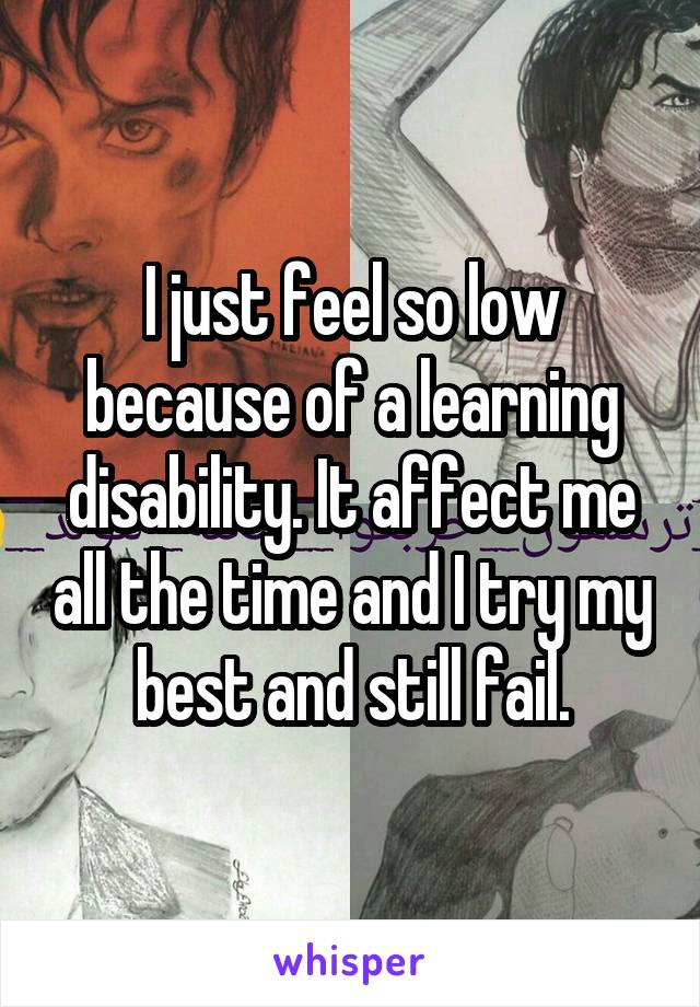I just feel so low because of a learning disability. It affect me all the time and I try my best and still fail.