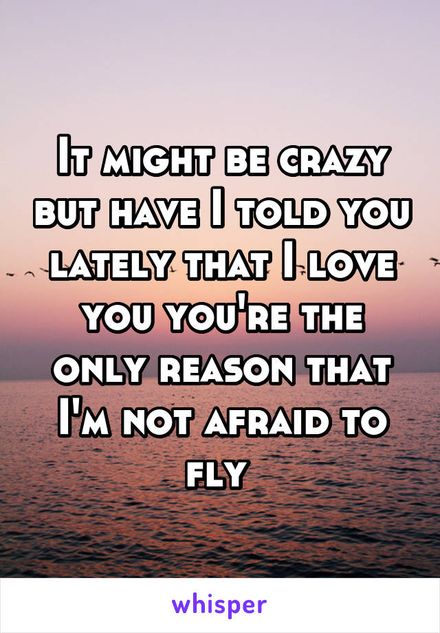 It might be crazy but have I told you lately that I love you you're the only reason that I'm not afraid to fly