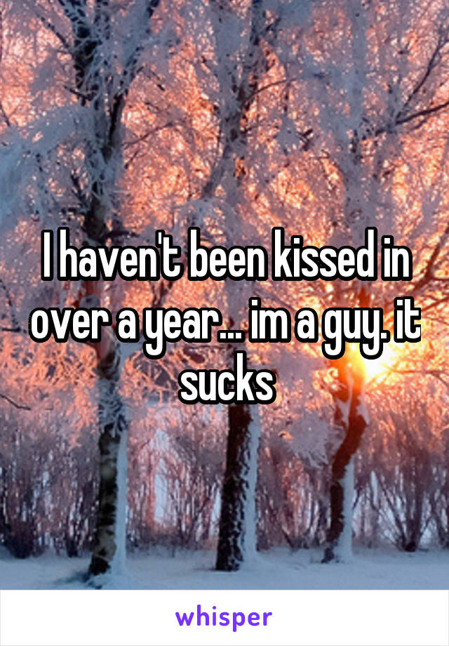 I haven't been kissed in over a year... im a guy. it sucks