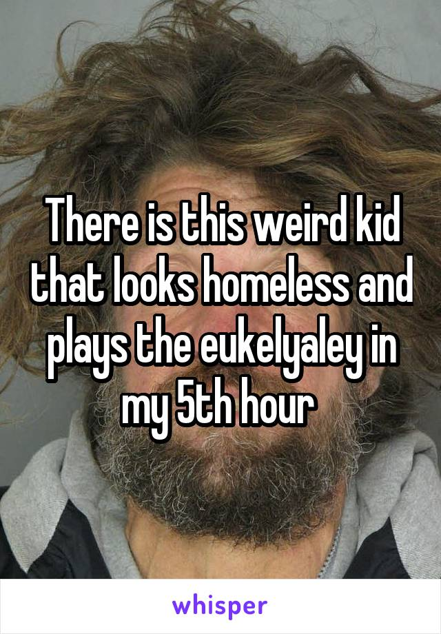 There is this weird kid that looks homeless and plays the eukelyaley in my 5th hour