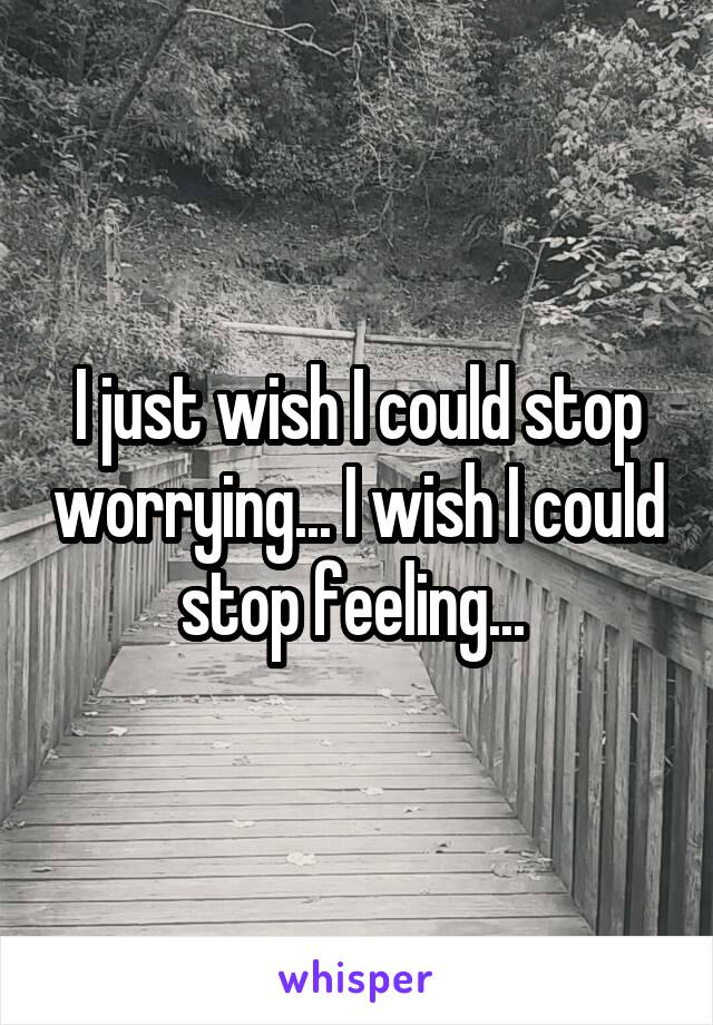 I just wish I could stop worrying... I wish I could stop feeling...