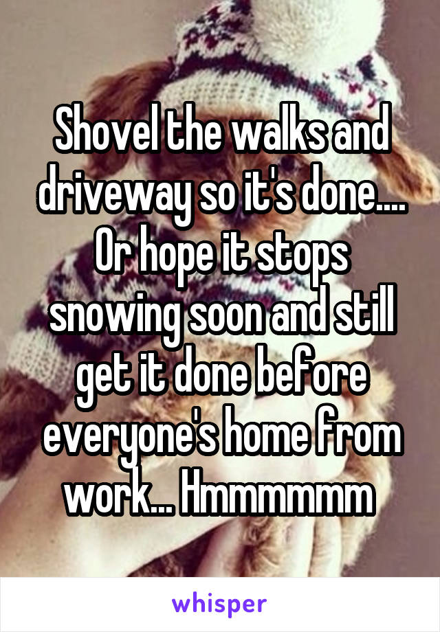 Shovel the walks and driveway so it's done.... Or hope it stops snowing soon and still get it done before everyone's home from work... Hmmmmmm