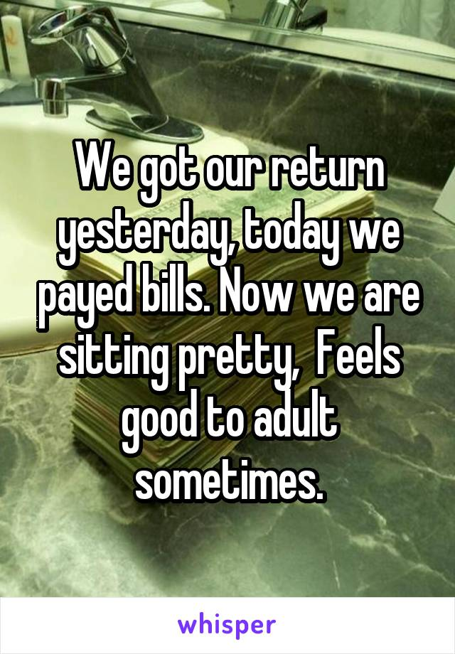 We got our return yesterday, today we payed bills. Now we are sitting pretty,  Feels good to adult sometimes.