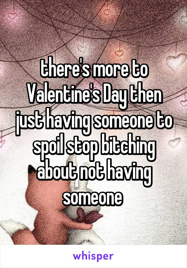 there's more to Valentine's Day then just having someone to spoil stop bitching about not having someone