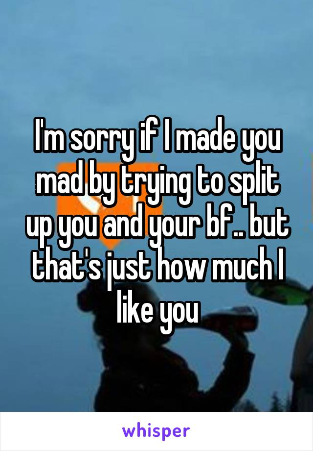 I'm sorry if I made you mad by trying to split up you and your bf.. but that's just how much I like you