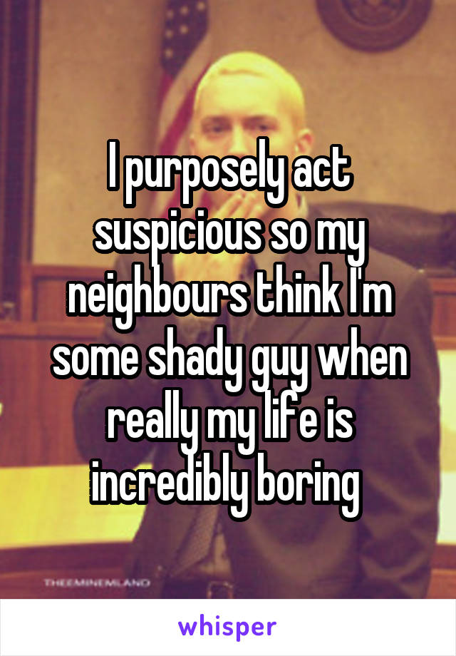 I purposely act suspicious so my neighbours think I'm some shady guy when really my life is incredibly boring
