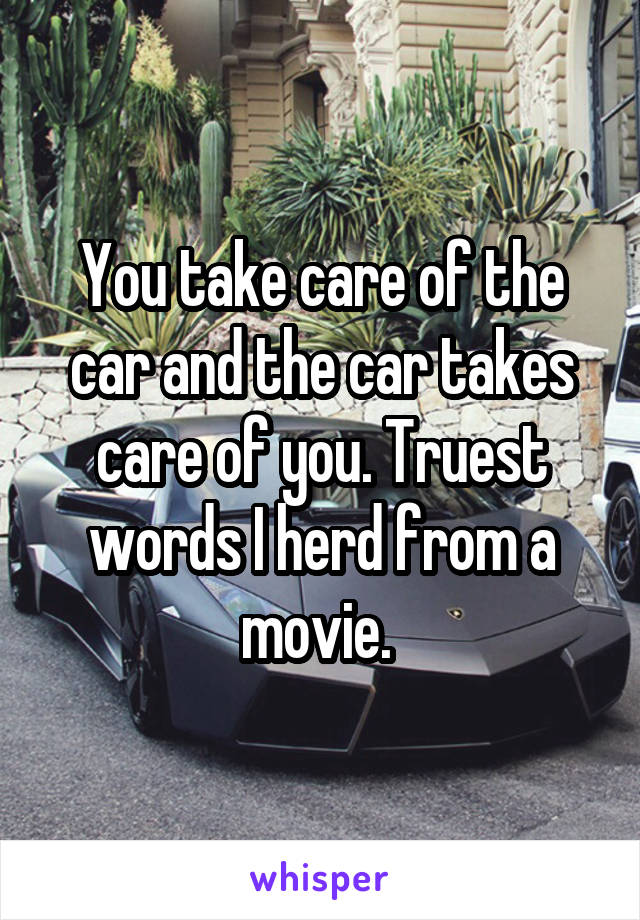 You take care of the car and the car takes care of you. Truest words I herd from a movie.