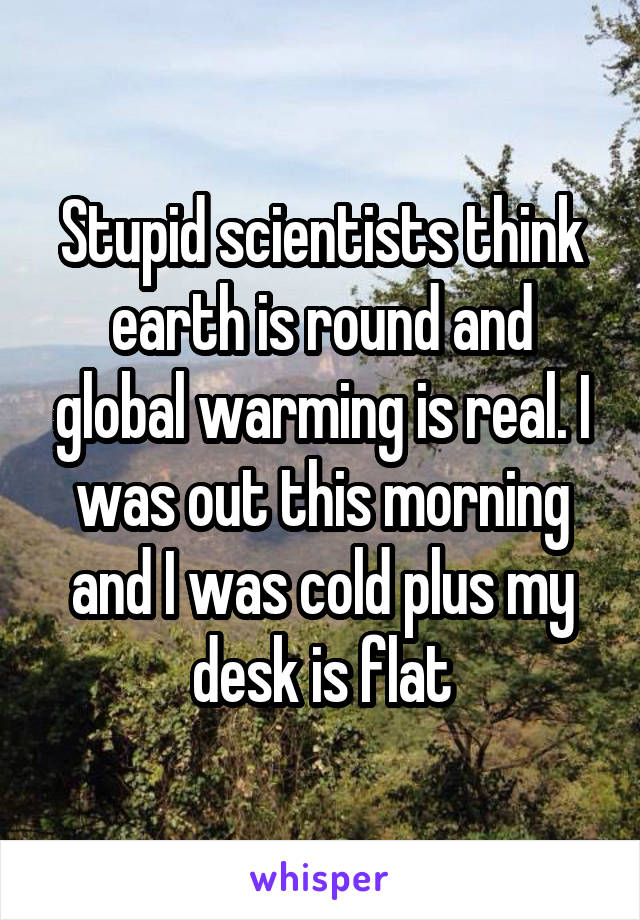 Stupid scientists think earth is round and global warming is real. I was out this morning and I was cold plus my desk is flat