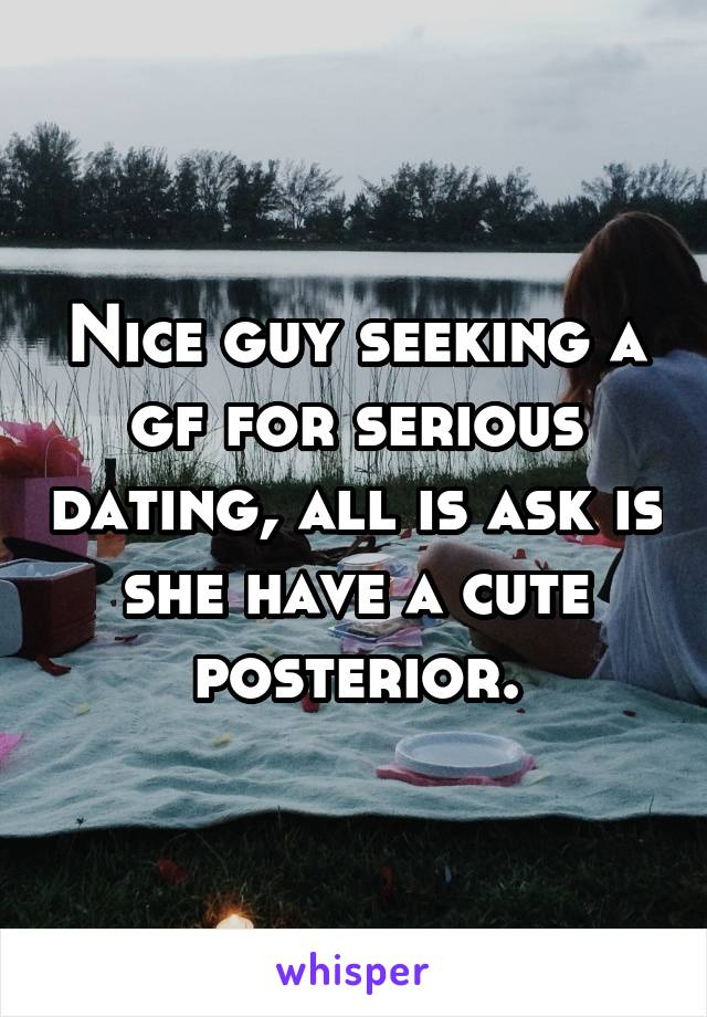 Nice guy seeking a gf for serious dating, all is ask is she have a cute posterior.