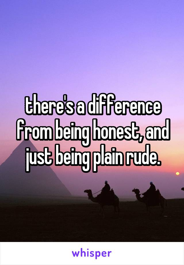 there's a difference from being honest, and just being plain rude.