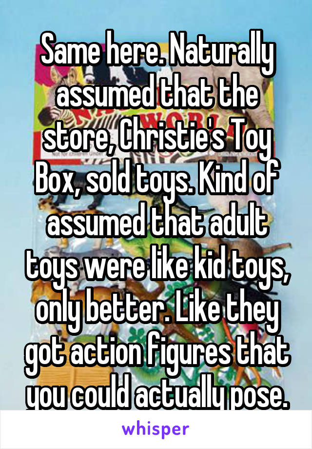 Same here. Naturally assumed that the store, Christie's Toy Box, sold toys. Kind of assumed that adult toys were like kid toys, only better. Like they got action figures that you could actually pose.