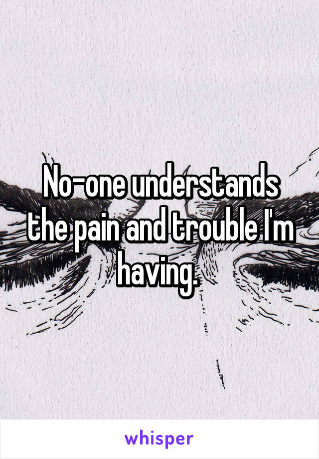No-one understands the pain and trouble I'm having.