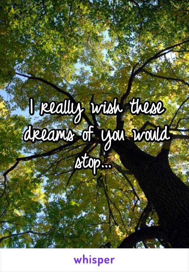 I really wish these dreams of you would stop...