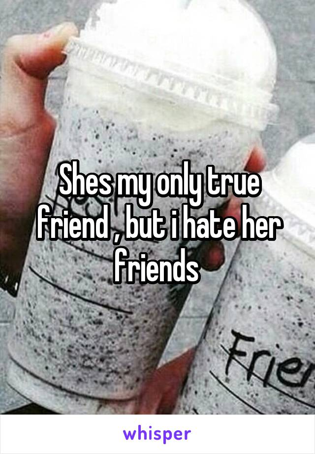 Shes my only true friend , but i hate her friends