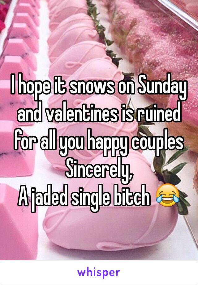 I hope it snows on Sunday and valentines is ruined for all you happy couples Sincerely,  A jaded single bitch 😂