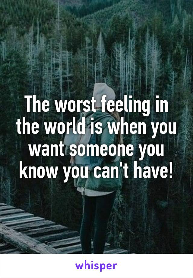 The worst feeling in the world is when you want someone you know you can't have!