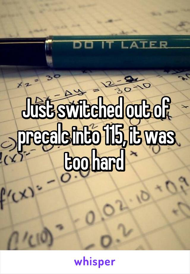Just switched out of precalc into 115, it was too hard