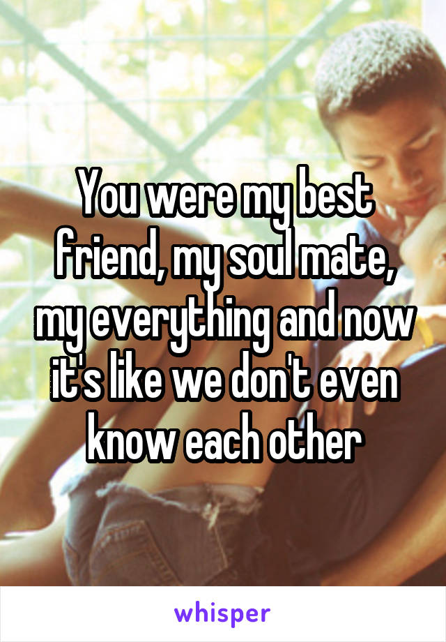 You were my best friend, my soul mate, my everything and now it's like we don't even know each other