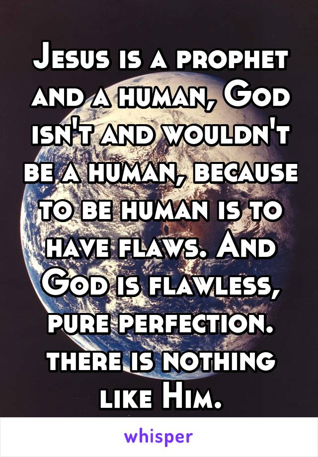 Jesus is a prophet and a human, God isn't and wouldn't be a human, because to be human is to have flaws. And God is flawless, pure perfection. there is nothing like Him.