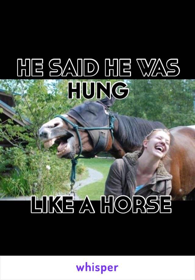 HE SAID HE WAS HUNG      LIKE A HORSE