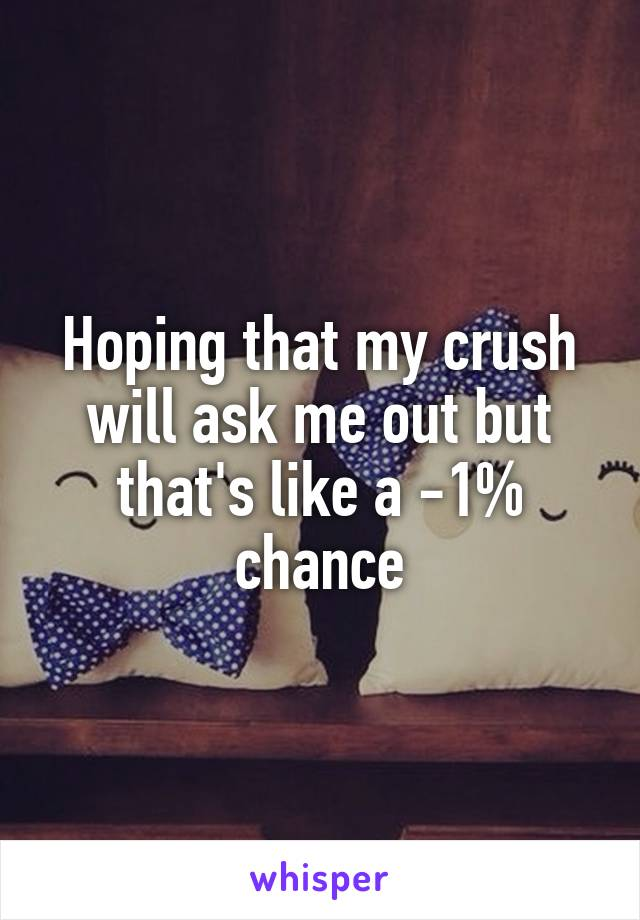 Hoping that my crush will ask me out but that's like a -1% chance