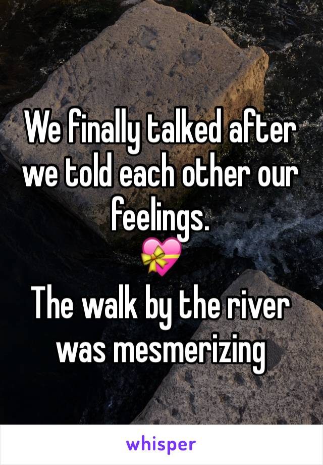 We finally talked after we told each other our feelings. 💝 The walk by the river was mesmerizing