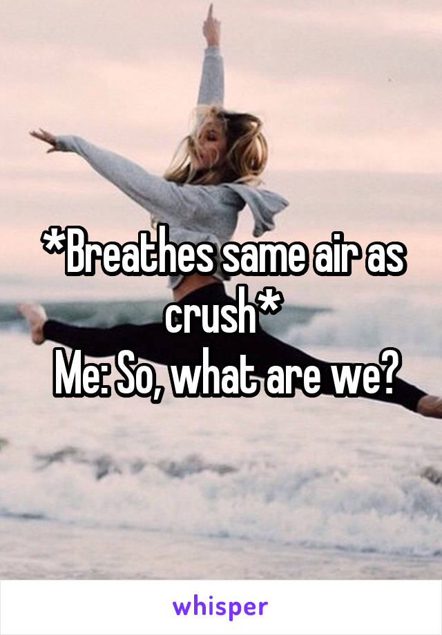 *Breathes same air as crush*  Me: So, what are we?