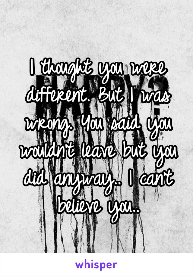 I thought you were different. But I was wrong. You said you wouldn't leave but you did anyway.. I can't believe you..