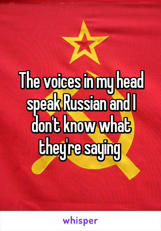 The voices in my head speak Russian and I don't know what they're saying