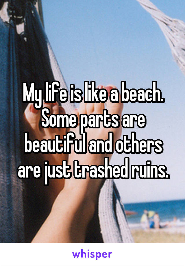 My life is like a beach. Some parts are beautiful and others are just trashed ruins.