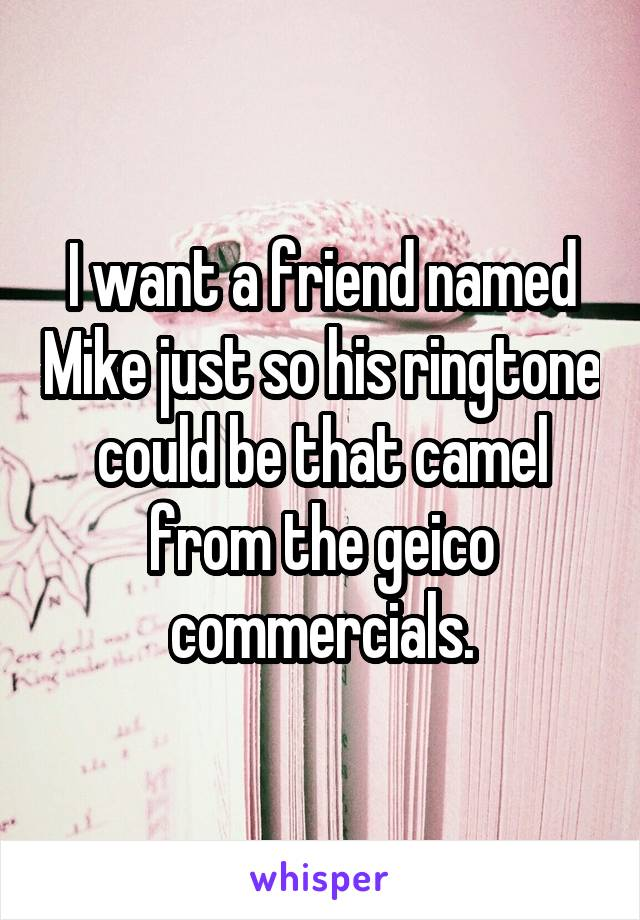 I want a friend named Mike just so his ringtone could be that camel from the geico commercials.