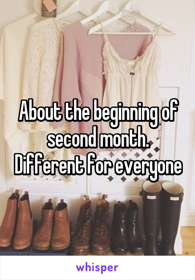 About the beginning of second month. Different for everyone