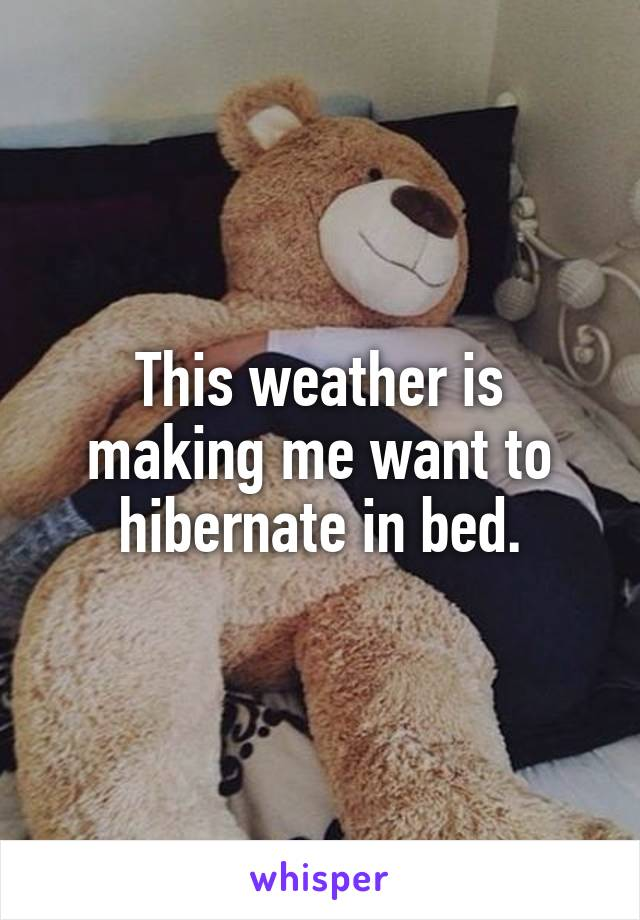 This weather is making me want to hibernate in bed.