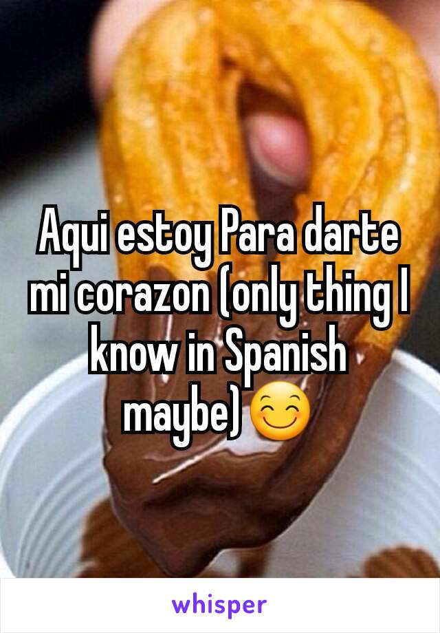 Aqui estoy Para darte mi corazon (only thing I know in Spanish maybe)😊