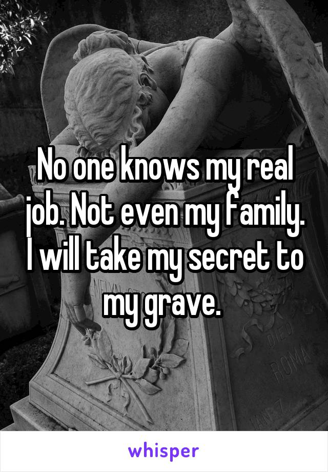 No one knows my real job. Not even my family. I will take my secret to my grave.