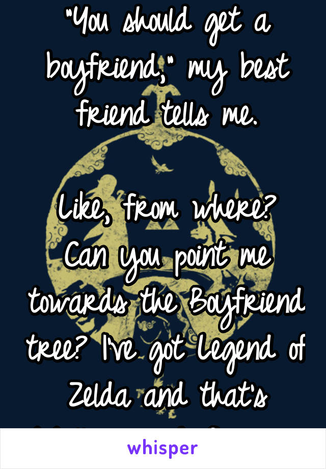 """""""You should get a boyfriend,"""" my best friend tells me.  Like, from where? Can you point me towards the Boyfriend tree? I've got Legend of Zelda and that's totally enough for me."""