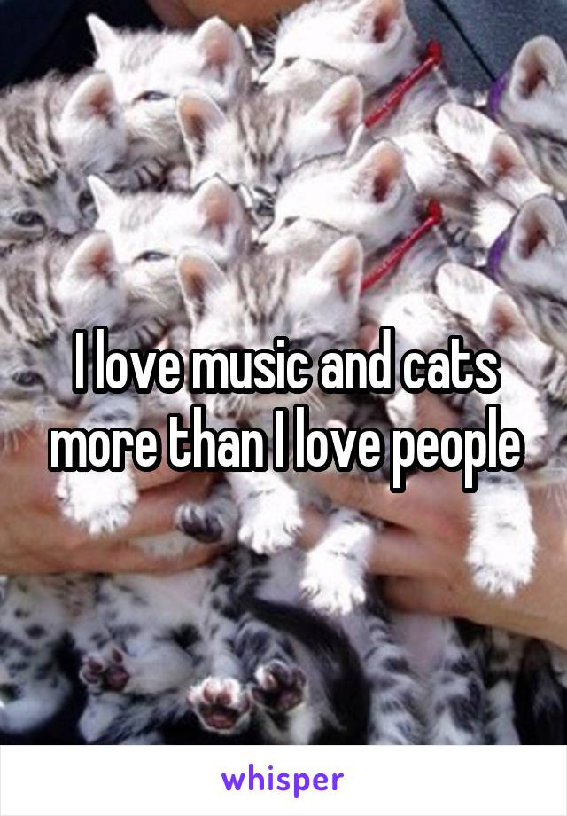 I love music and cats more than I love people