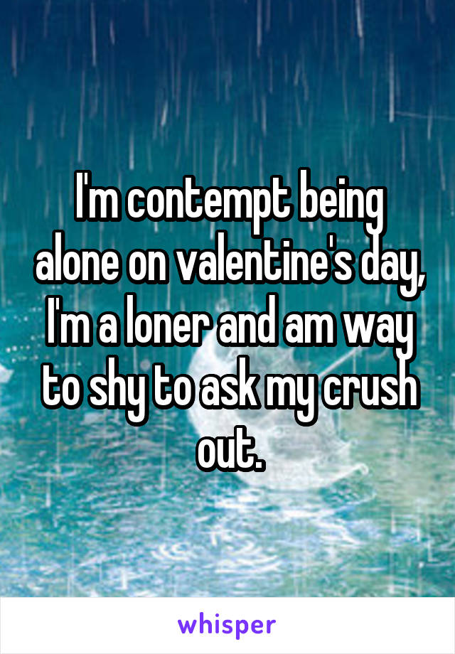 I'm contempt being alone on valentine's day, I'm a loner and am way to shy to ask my crush out.