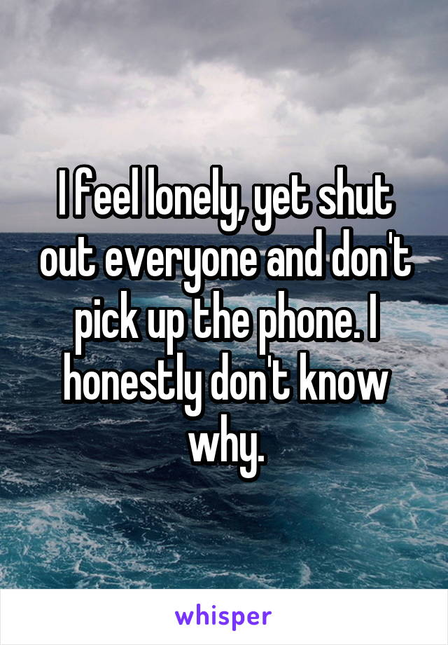 I feel lonely, yet shut out everyone and don't pick up the phone. I honestly don't know why.