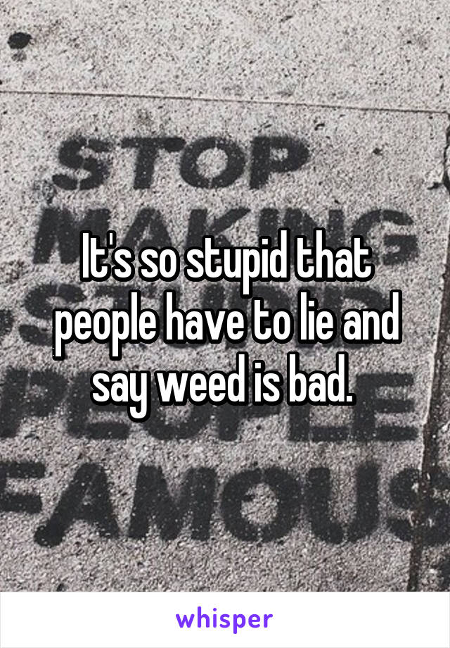 It's so stupid that people have to lie and say weed is bad.
