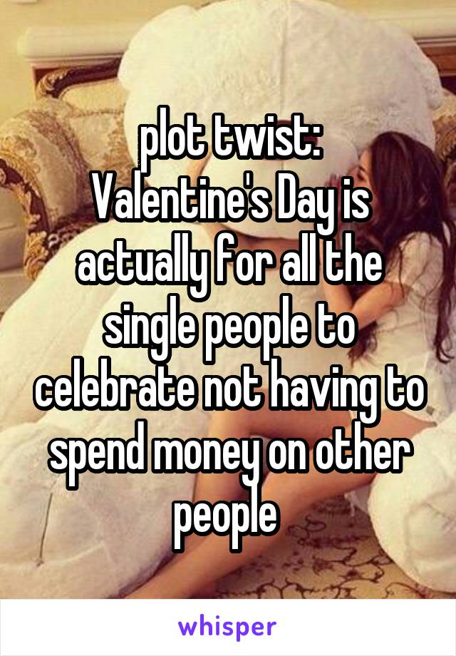 plot twist: Valentine's Day is actually for all the single people to celebrate not having to spend money on other people