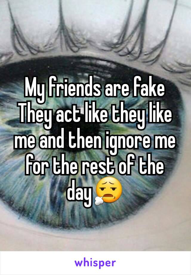 My friends are fake They act like they like me and then ignore me for the rest of the day😧