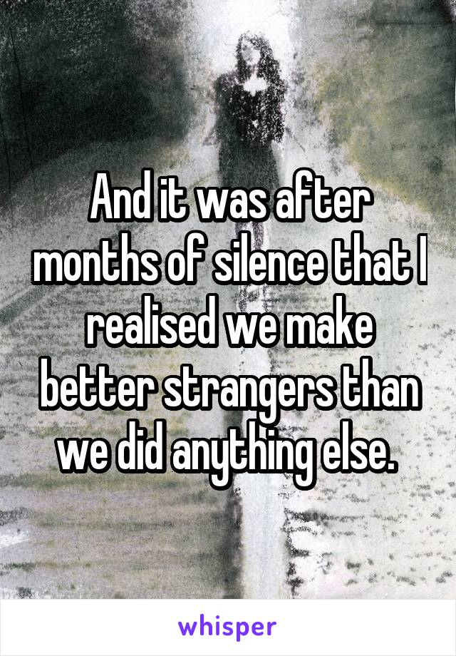 And it was after months of silence that I realised we make better strangers than we did anything else.