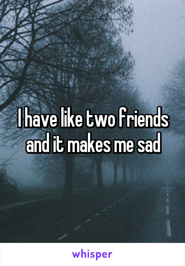 I have like two friends and it makes me sad