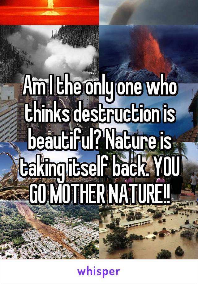 Am I the only one who thinks destruction is beautiful? Nature is taking itself back. YOU GO MOTHER NATURE!!