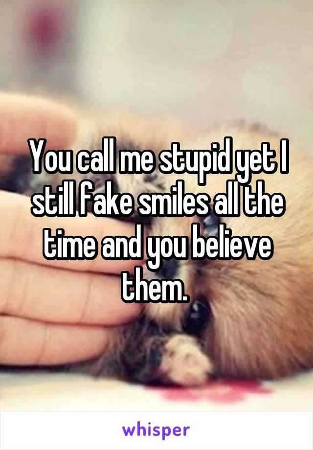 You call me stupid yet I still fake smiles all the time and you believe them.