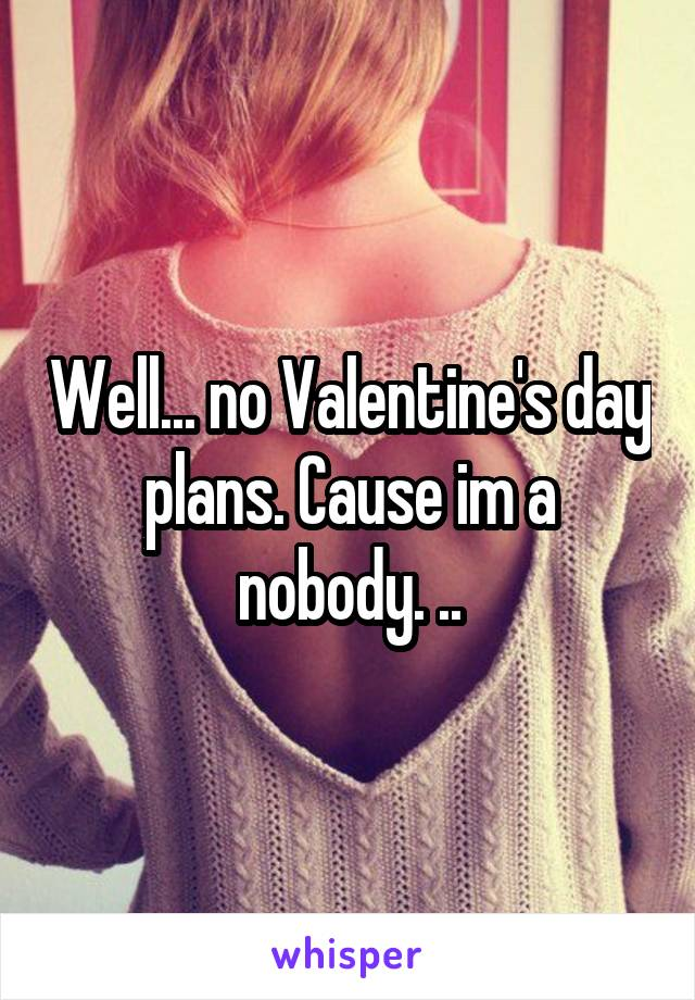 Well... no Valentine's day plans. Cause im a nobody. ..