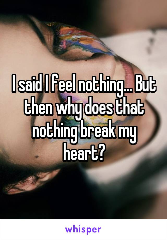 I said I feel nothing... But then why does that nothing break my heart?